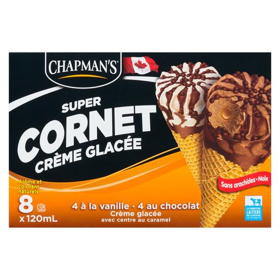Chapman's Vanilla Chocolate Ice Cream Super Cones 8pk. - 120ml