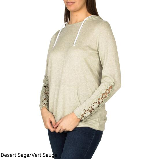 mySTYLE Women's Sweaterknit Popover with Crochet Sleeve Detail - S-XL