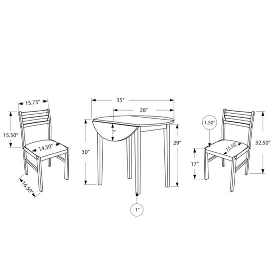 Monarch Specialties White Dining Table Set - 3pc.