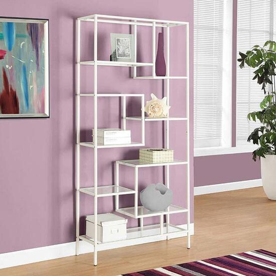Monarch Specialties Inc. Metal Bookcase White - 72 in.