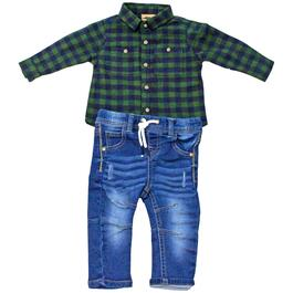Little Gent Infant Green Plaid Button-Up Shirt with Jeans 2pc. Set - 3-24M