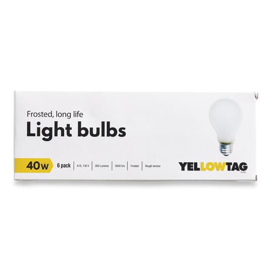 YellowTag 40W Frosted Light Bulbs - 6pk.