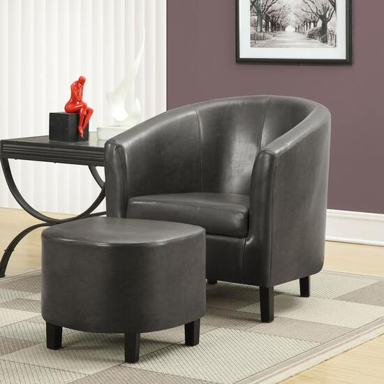 Monarch Specialties Inc. Charcoal Accent Chair and Ottoman - 2pc.