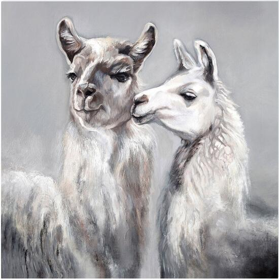 Kissing Llamas Canvas Art - 18in. x 18in.
