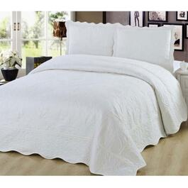 Beauty Sleep Bedding Embroidered Ivory Quilt Set - Twin