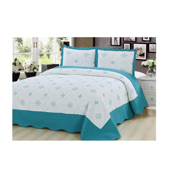 Beauty Sleep Bedding Embroidered Blue Quilt Set  - King
