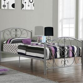 Monarch Specialties Inc. Dainty Silver Metal Bed Frame - Twin