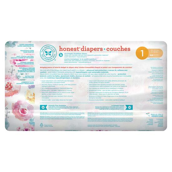 The Honest Company Rose Blossom Patterned Diapers Size 1 - 176pk.