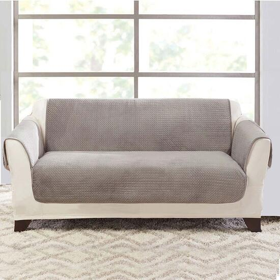surefit Elegant Pick Stitch Silver Plate Loveseat Furniture Cover