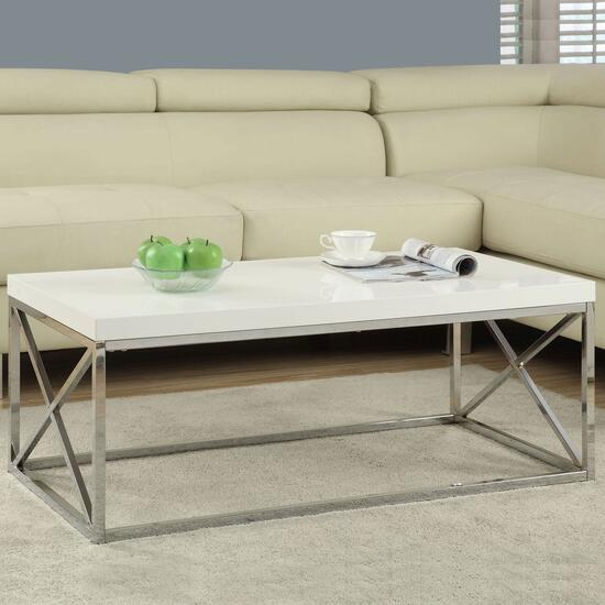 Monarch Specialties Inc. Coffee Table - Glossy White and Chrome