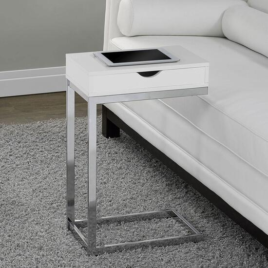Monarch Specialties Inc. Chrome Accent/Tray Table with Drawer - Glossy White Top