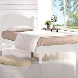 Titus Contemporary White Platform Bed with Wood Frame