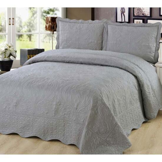 Beauty Sleep Bedding Embroidered Grey Quilt Set - Twin