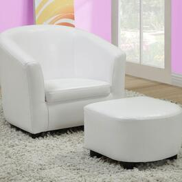 Monarch Specialties Inc. Faux Leather Mini Chair Set - White