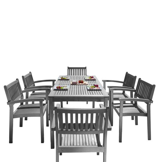 Vifah Renaissance Outdoor Patio Hand-Scraped Dining Set with Straight Leg Table - 7pc.