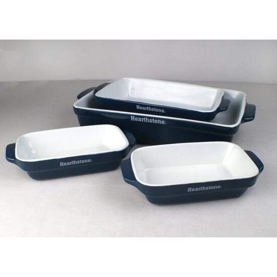 Hearthstone Ceramic Blue Bakeware Set - 4pc.