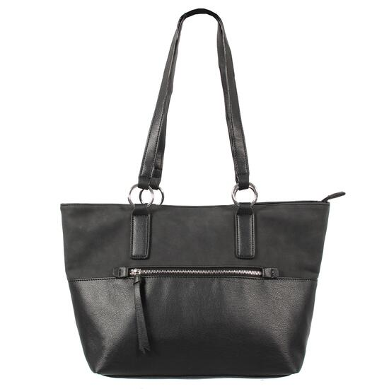 Nicci Black Tote Bag with Front Zipper Pocket