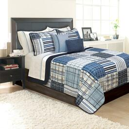 Duncan Blue Quilt and Sham Set - 3pc.