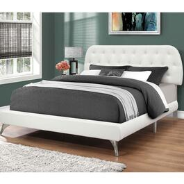 Monarch Specialities Queen Faux Leather Bed Frame with Chrome Legs