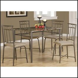 Monarch Specialties Cappuccino Marble and Bronze Metal Dining Set - 5pc.