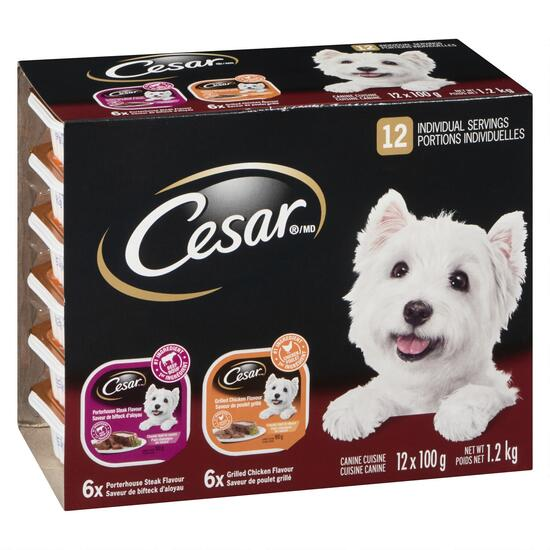 Cesar Steak and Grilled Chicken Dog Food - 12pk.