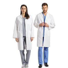 White Cross Unisex Three-Pocket Lab Coat with Snaps - XXS-XL