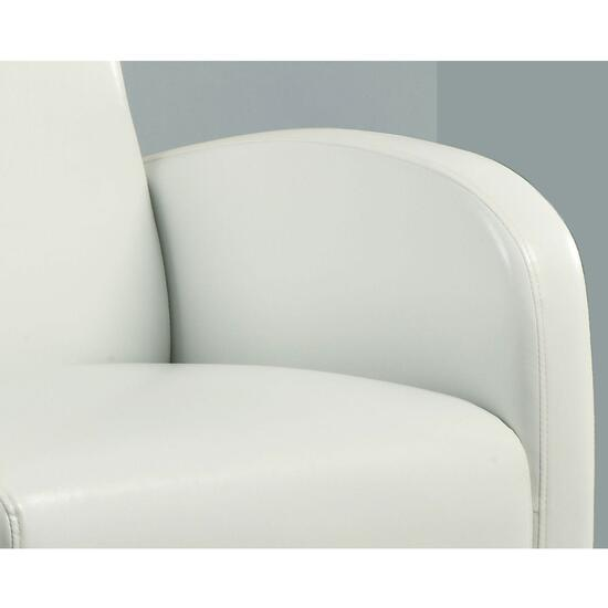Monarch Specialties Inc. White Faux Leather Club Chair