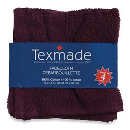 Texmade Purple Facecloths - 4pk. - 13in.