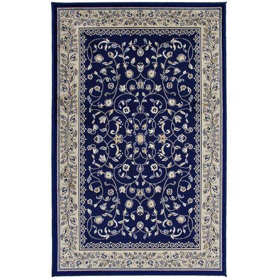 Avocado Décor Navy Artificial Silk Sarook Rug - 2.2ft. x 6.9ft.