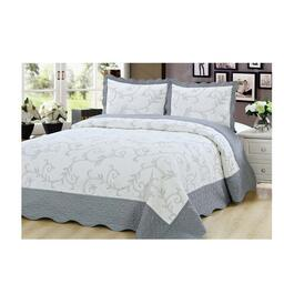Beauty Sleep Bedding Embroidered Silver Quilt Set - King