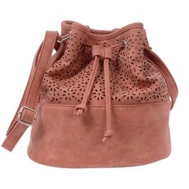 NICCI Desert Peach Perforated Drawstring Hobo Bag