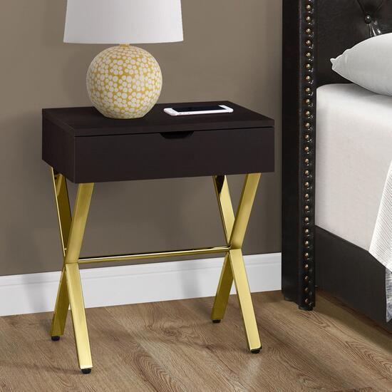 Monarch Specialties Cappuccino Accent Table - 24in.