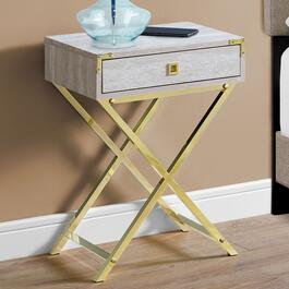 Monarch Specialties 24 in. Accent Table - Beige Marble and Gold Metal