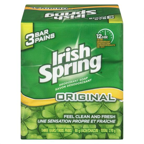 Irish Spring Deodorant Soap Regular Bar 3pk. - 90g
