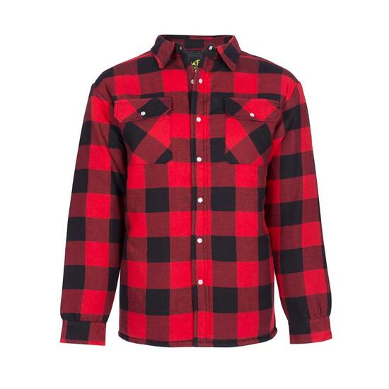 NAT'S Red Quilted Flannel Work Shirt - XS-XXL