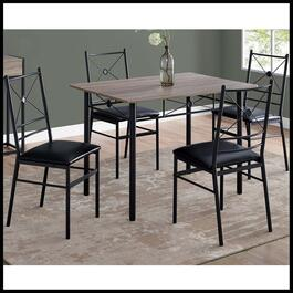 Monarch Specialties Dark Taupe and Black Metal Dining Set - 5pc.