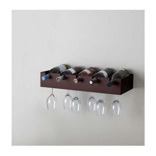 Kiera Grace Ellington Wine Rack and Glass Holder - Espresso