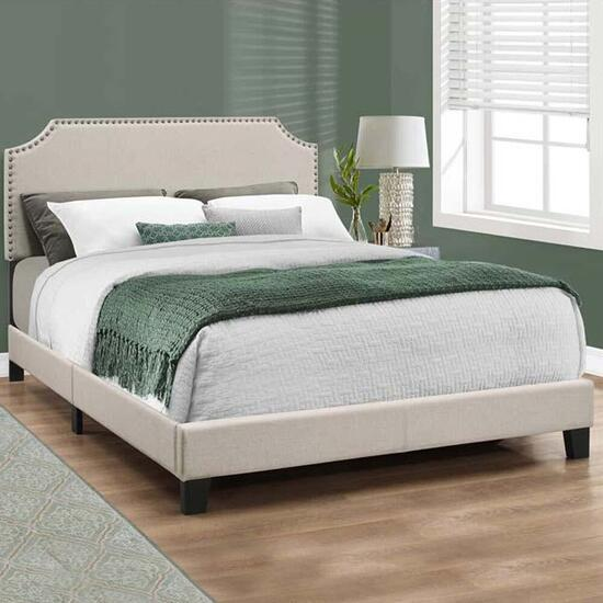 Monarch Specialties Beige Linen with Brass Trim Bed - Queen