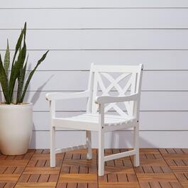 Vifah Bradley White Outdoor Patio Garden Armchair