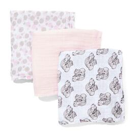 Precious Moment Pink Elephant Swaddling Blanket - 3pc.