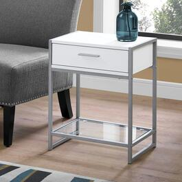 Monarch Specialties 22 in. Accent Table - White and Silver Metal with Tempered Glass