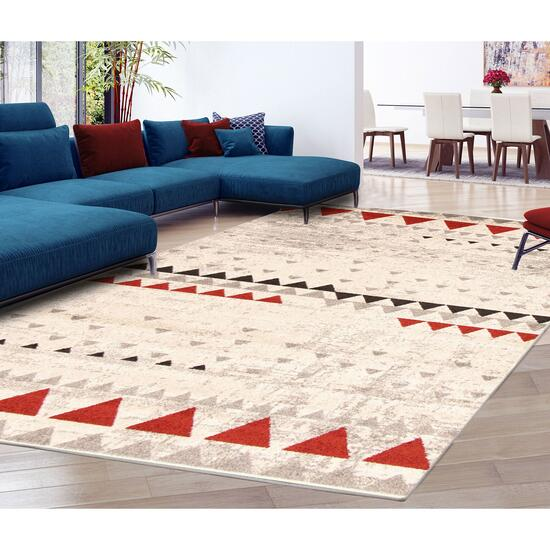eCarpetGallery Remi Ivory/Red Area Rug