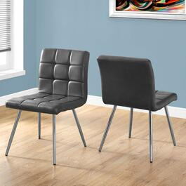 Monarch Specialties Grey Metal Chrome Dining Chairs - 2pc.