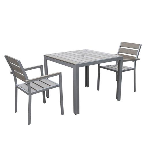 CorLiving Sun Bleached Grey Outdoor Dining Set - 3pc.