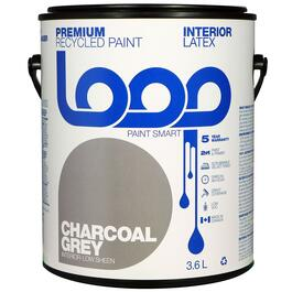 Loop Charcoal Grey Interior Latex Premium Recycled Paint - 3.8L