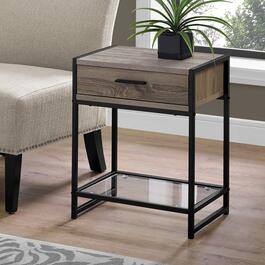 Monarch Specialties 22 in. Accent Table - Dark Taupe and Black Metal with Tempered Glass