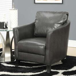 Monarch Specialties Accent Chair in Charcoal Grey Leather-Look Fabric