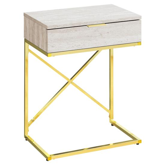 Monarch Specialties 24 in. Accent Table - Beige Metal and Gold Metal