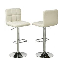 Brassex Elmira Beige Adjustable Bar Stool with Swivel - Set of 2