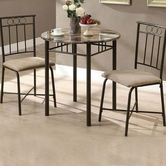 Monarch Specialties Inc. 3 Piece Dining Set - Cappuccino Marble and Bronze Metal